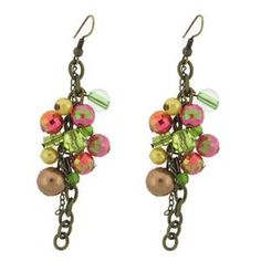 Brass Multi Color Iridescent Beads Dangle Earrings