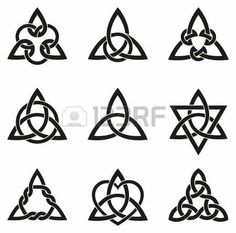 Stock Vector A variety of celtic knots used for decoration or tattoos. Nine endless basket weave knots. These knots are most known for their adaptation for use in the ornamentation of Christian monuments and manuscripts. Symbols And Meanings, Celtic Symbols, Celtic Art, Irish Symbols, Celtic Runes, Celtic Decor, Celtic Dragon, Simbolos Tattoo, Body Art Tattoos