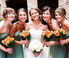 Soft Green + Pops of Orange These Ann Taylor bridesmaid dresses were the first thing Brittany chose for the wedding. She wanted something they could wear again and the shape was flattering to all the girls' figures. This shade of green is her favorite color and, when paired with vibrant orange, fit in with the Tuscan-feel of her venue.