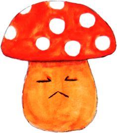 cute sad orange mushroom watercolor painting