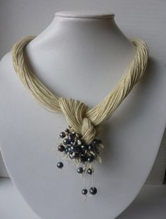 Cream Linen with Pearls Necklace Spring & Summer Organic Gift