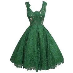 Chuanqi Women's Vintage Full Lace Flare Formal Dresses ($25) ❤ liked on Polyvore featuring dresses, green formal dresses, lace formal dresses, lace flare dress, lacy dress and vintage green dress