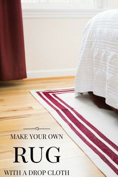DIY decor project! Check out this post to learn How To Make your own rug with a drop cloth and fabric paint! It's easy to customize your rug to fit your decor. Pin now, try it out later! Drop Cloth Rug, Canvas Drop Cloths, Drop Cloth Projects, Diy Bathroom Remodel, Bath Remodel, Kitchen Remodel, Painted Rug, Painted Floor Cloths, Painted Floors