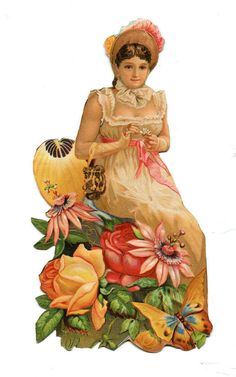 Victorian Scrap Cutwork YOUNG WOMAN WITH ROSES BUTTERFLY
