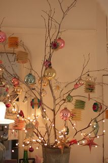 I want to put one in my room, and cover it with paper lanterns Twig Christmas Tree, Twig Tree, Christmas Makes, Vintage Christmas Ornaments, Holiday Tree, Rustic Christmas, Holiday Fun, Christmas Holidays, Xmas Decorations