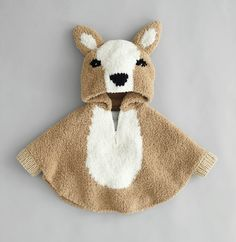 A nice warm knit poncho. The poncho is knitted in acrylic. It could possibly also be used without hood or in the color ecru. Teddy Bear Hug, Knitted Teddy Bear, Knitted Baby, Jacquard Pattern, Cape Bebe, Baby Park, Pull Bebe, Baby Pullover, Elephant Pattern