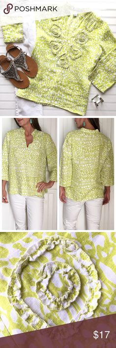 """Pebbled Linen Tunic Pebbled Linen Tunic   size L; 100% linen . Lime patterned tunic with raw-edge ruffle details on bodice & banded collar   v-notch at neck; darts at bust; side vents at hips   3/4 length sleeve   loose and lightweight; perfect with white jeans or shorts!   machine wash cold . EUC, no flaws, smoke-free home . 22.5"""" UA to UA 26"""" length Nordstrom Tops Tunics"""