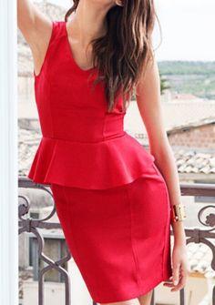 Red V Neck Sleeveless Peplum Bodycon Dress
