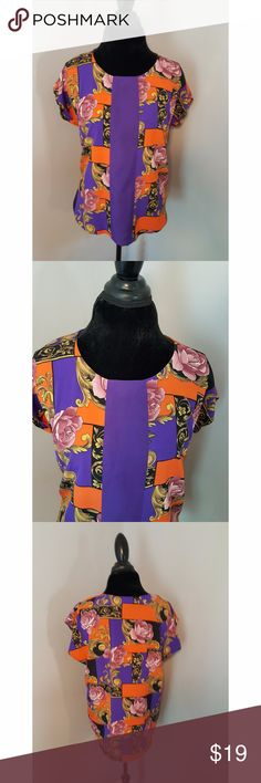 "Beautiful Bright Orange & Purple Top Beautiful Bright Orange & Purple Top. 46"" Bust, 44"" in the Waist, 25.5"" Length from shoulder. I bought because listed on Poshmark as a Large, but it is too big for a large. Wore once, absolutely perfect condition. Tops Blouses"