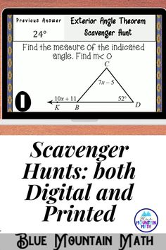 Looking for a fun, engaging activity that gets the kids moving and talking about math? In this resource, students practice finding the measures of angles using the exterior angle theorem and you can choose between a printed activity or digital (self-grading) activity. . The printed activity works great in the classroom while the digital activity can be used for distance learning or absent students.