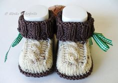 Baby Knitting Patterns Booties Knitted & Crocheted Shoes - Baby Shoes Costume - a unique product by strickliene . Knitting Patterns Boys, Irish Crochet Patterns, Knitting For Kids, Gestrickte Booties, Knitted Booties, Knit Baby Shoes, Knit Baby Dress, Baby Converse, Toddler Outfits