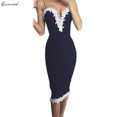 Floral Lace Dress Women Sexy Club Strappy V Neck Party Bandage Dress Mid Dress