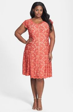 ABS by Allen Schwartz Lace Fit & Flare Dress (Plus Size) available at #Nordstrom