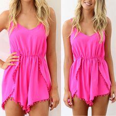 Heartbreaker Pom Pom Romper in Pink - Summer Fashion 2016.  www.psiloveyoumoreboutique.com