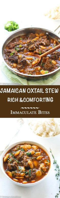 Jamaican Oxtail Stew- This Braised Oxtail with butter beans has complex note from allspice but also that familiar garlic, thyme , onion medley. The end product tender flavorful meat.