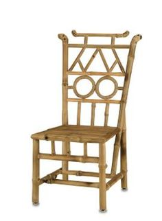 Discontinued Item Limited Stock Available 8 in Palm Beach     Natural Bamboo Arts and Craft Style Side Chair Detail and Bottom Stretcher,Seat 17