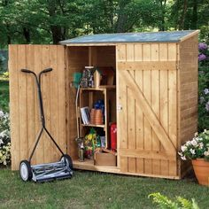 Solid Wood Outdoor Tool Storage Shed  Great little shed to store stuff!  - Art Supplies  - Gift Wrapping Junk  - Costumes  - Holiday Bins  - Gardening Stuff  - Tools  - Projects In Works   - Camping Equipment  - And anything else you might not want visible on your patio.