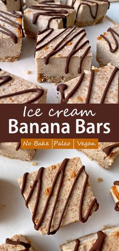 These banana ice cream bars have a no-bake nutty crust that's topped with a coconut and banana filling and drizzled in dark chocolate. This healthy ice cream bar recipe is Paleo, Vegan and no-bake! A great frozen summer treat. #bananabars #icecreambars #paleodesserts #veganicecream Paleo Dessert, Healthy Dessert Recipes, Healthy Baking, Banana Bars, Banana Ice Cream, Healthy Ice Cream, Vegan Ice Cream, Easy To Make Desserts, No Bake Desserts
