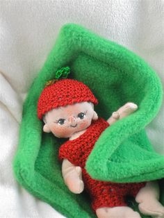 Apple a One of a Kind Miniature Cloth Baby Doll by BEBE BABIES. $50.00, via Etsy.