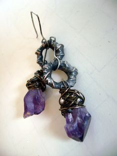 Soldered wire loops. Earrings by anvilartifacts.