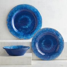 Our deep blue dinnerware can make a statement without shouting. It works well with black, white or other bold colors. Crafted in the style of hand-thrown Italian stoneware, our Carmelo Collection is deceptively lightweight. It's melamine, so it's easy to handle and care for. Set it out for an outdoor party, indoor dinners or just for everyday use.