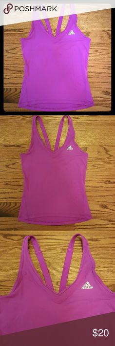 Adidas Climalite Training Tank Purple. Straps in the back form a V shape. Climalite technology keeps you cool. Size small. New with tags. Originally $28. Adidas Tops Tank Tops