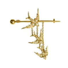 View this item and discover similar for sale at - An elegant antique bar brooch, modelled as three diving swallows - the bottom two move freely, dangling on fine gold chains. Set with split pearls, the Bird Jewelry, Jewelry Tools, Beaded Jewelry, Jewelry Box, Victorian Jewelry, Antique Jewelry, Vintage Jewelry, Gemstone Brooch, Diamond Brooch