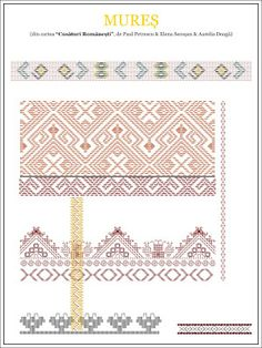 Semne Cusute: model de camasa - TRANSILVANIA, Mures Cute Embroidery, Learn Embroidery, Embroidery Patterns, Cross Stitch Patterns, Knitting Patterns, Ethnic Tattoo, Tribal Tattoos, Wedding Album Design, Diy Upcycling
