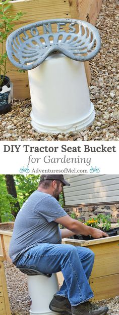 Learn how to make your own DIY vintage tractor seat bucket stool (or Jones Rake seat bucket stool), perfect for gardening and homesteading. Simple how-to tutorial!