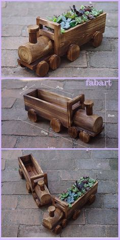 Gardening Tips DIY Wood Crate Train Planter Tutorial - Holz Wooden Crates Crafts, Crate Crafts, Wooden Projects, Wood Crates, Wooden Diy, Diy Projects, Wood Planters, Flower Planters, Flower Pots