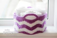 crochet ripple basket pattern