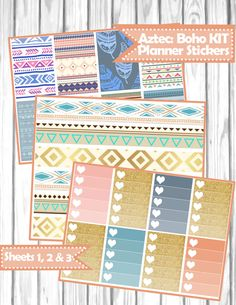 Aztec / Boho KIT Planner Stickers for Erin Condren, Happy Planner, Filofax, kikki.K, etc.