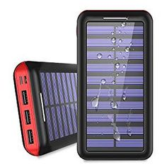 Power Bank Solar Portable Charger - ALLSOLAR Solar Phone charger with 3 Fast Charging USB Port and Dual Input External Battery Pack for Android Phones and All Smartphones and More(Black) Portable Solar Power, Solar Energy System, Portable Charger, Solar Phone Chargers, Solar Battery Charger, Solar Energy Panels, Solar Panels, Solar Panel Installation, Alternative Energy