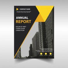 Plantilla amarilla abstracta profesional de reporte anual Vector Gratis
