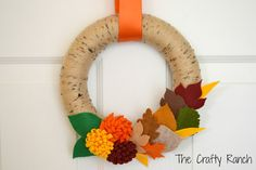 Fall Leaves and Mums Yarn Wreath