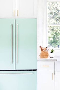minty-turquoise refrigerator.