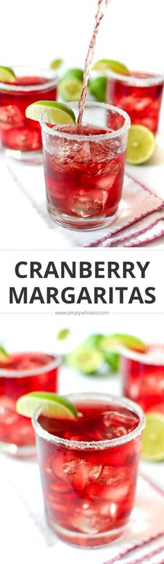 These easy cranberry margaritas made from scratch, which means they taste way better than any margarita mix you could ever buy. Thanksgiving Cocktails, Christmas Cocktails, Holiday Drinks, Holiday Recipes, Holiday Treats, Christmas Recipes, Christmas Eve, Easy Alcoholic Drinks, Drinks Alcohol Recipes