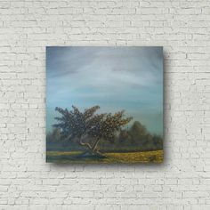 Revelry - A large original acrylic landscape painting, two entwined twisted trees in dusk light, misty fields, misty coppice, trees in mist Twisted Tree, Canvas Painting Landscape, Tree Wall Art, White Acrylics, Abstract Wall Art, Artist Canvas, Original Paintings, Etsy Shop, The Originals