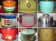 Vintage Kitchen Dessert on the Go: Vintage Cake Carriers - For family meals and holidays, my grandma would often bring a dessert, along with her relish tray Vintage Cake Plates, Vintage Tins, Vintage Dishes, Vintage Stuff, Cake Tins, Box Cake, Retro Kitchen Accessories, Pie Carrier, Cake Holder