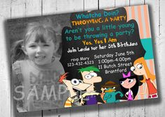 Phineas and Ferb Party Invitation by PartyPrintableInvite on Etsy Party Invitations Kids, Printable Birthday Invitations, Party Printables, 6th Birthday Parties, 10th Birthday, Birthday Ideas, Phineas E Ferb, Kid Birthdays, Throw A Party