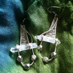 Wire Wrapped Clear Quartz Earringsw on Etsy, $20.00