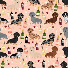 Dachshunds Wine Fabric Dachshund Wine Fabric Wine And