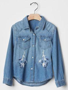 1969 embroidered denim western shirt   Gap