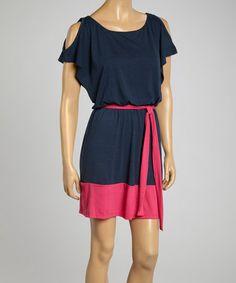 Another great find on #zulily! Navy & Pink Tie-Waist Dress #zulilyfinds