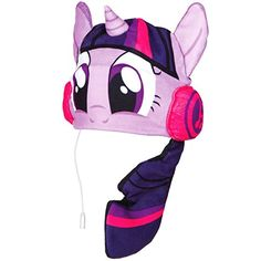 This cool My Little Pony Twilight Sparkle Headphone Hat is made from breathable fleece in the shape of Twilight Sparkle with built in headphones. Free UK delivery available My Little Pony Twilight, Unicorn Rooms, Unicorn Bedroom, My Little Pony Bedding, Kids Headphones, Daddys Princess, Mlp, Twilight Sparkle, Fleece Fabric
