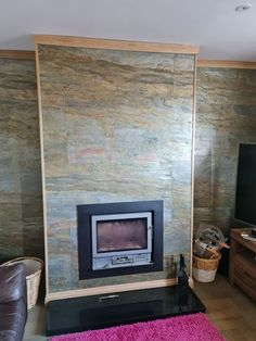 burning forest slate veneer feature wall