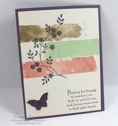handmade card ... background done with Painter's Tape Technique ...  soft brown, green and coral ... like the pattern ... silhouette flowering vine stamped in black ... good sentiment ... like it!! ... Stampin' Up!