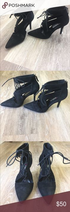 Black Nine West Pointy Strappy Heel Size 6 black Strappy pointy Nine West Heel. Worn once inside. 3.5 inch Heel. Wear pictured.   👠Unless otherwise stated NWT, all items are from my PERSONAL closet and GENTLY used. Please do not expect UC to look NWT. 👠  💋Please ask any questions you may have BEFORE purchase.💋  ❤️Bundle together for the best deal!! ❤️  ❗️PLEASE USE THE OFFER BUTTON TO SUBMIT OFFERS.❗️  🎀As always HAPPY POSHING. 🎀 Nine West Shoes Heels