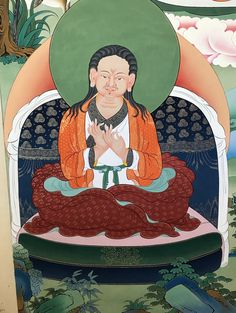 Gold completed on Sonam Tsemo (Tib.: bsod nams rtse mo; 1142–1182) (or Lobpon Sonam Tsemo), an important Tibetan sprititual leader and Buddhist scholar, was the second of the so-called Five Venerable Supreme Sakya Masters of Tibet, the founding fathers of the Sakya-tradition. #thangka #Tibetanart #Buddhistart #ColoringForMeditation