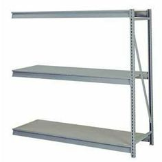 "Bulk Storage Rack Add-On, 3 Tier, Particle Board, 72""Wx48""Dx84""H Gray by LYON WORKSPACE PRODUCTS. $360.95. Bulk Storage Rack Add-On, 3 Tier, Particle Board, 72""Wx48""Dx84""H Gray Heavy gauge steel uprights and beams. Adjustable on 1-1/2"" centers. 1650-3300 lbs. capacity per pair of beams. Weight Capacity based on evenly distributed load. 10,000 lbs. per upright assembly."